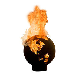 Home Infatuation - Third Rock Fire Pit - You can set the world on fire — literally. This fire pit is a globe crafted of strong carbon steel  with continental cutouts to inflame your nights and desires. At 36-inches diameter, it brings new meaning to global warming.