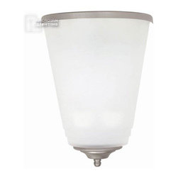 Capital Lighting - Capital Lighting Acid Washed Glass Transitional Wall Sconce X-31LP-LA-FF1471 - With sleek good looks, the Acid Washed Glass Transitional Wall Sconce from Capital Lighting is a great choice for many interiors from city loft to updated suburban bungalow. The Acid Wash glass shade looks stunning rimmed with a narrow brushed metal band that matches the small bottom detailing. This fixture uses a 13-watt fluorescent bulb.