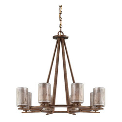 Savoy House - 8 Light 1 Tier ChandelierSonata Collection - With an updated Asian inspired design, this eight light chandelier features a textured Warm Brandy finish and iridescent hand painted glass.