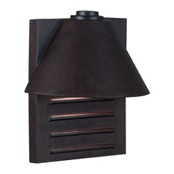 Kenroy - Kenroy-10161COP-Fairbanks 1 Light Large Wall Lantern - The half-roof of Fairbanks overhangs the backplate for a decidedly modern look. The protruding rectangles on the metal face of Fairbanks make for interesting shadows and highlights.