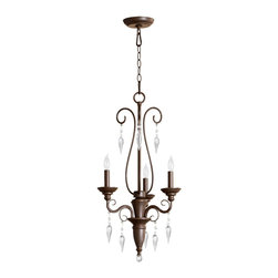 Quorum Lighting - Quorum Lighting Vesta Traditional Chandelier X-68-3-1006 - The graceful scroll work displayed in the oiled bronze finish frame provides refined elegance and old world charm. The Quorum Lighting Vesta classic chandelier features decorative crystal pendants for an additional sparkling look. The three-light chandelier produces superior lighting with a dazzling glow.