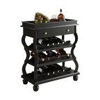 "Acme - Cecilia Black Finish Wood Bar Cabinet with 3 Wine Bottle Shelves - Cecilia Black finish wood bar cabinet with 3 wine bottle shelves curved front and back legs. Measures 30"" x 16"" x 38"" H. Some assembly required."