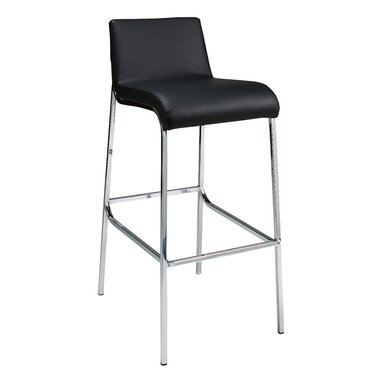 """Pastel Furniture - Pastel Inamoana Barstool - Chrome - PU Black - 30 Inch - The Inamoana barstool is a beautifully made contemporary barstool with a simple yet elegant design that is perfect for any decor. An ideal way to add a touch of modern flair to any dining or entertaining area in your home. This barstool has a Chrome frame with sturdy legs and foot rest finish. The padded seat is upholstered in either PU black or PU ivory offering comfort and style. Available in 26"""" counter height or 30"""" bar height."""