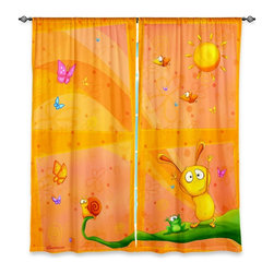 """DiaNoche Designs - Window Curtains Lined by Toosh Toosh Happy Baby Orange - Purchasing window curtains just got easier and better! Create a designer look to any of your living spaces with our decorative and unique """"Lined Window Curtains."""" Perfect for the living room, dining room or bedroom, these artistic curtains are an easy and inexpensive way to add color and style when decorating your home.  This is a woven poly material that filters outside light and creates a privacy barrier.  Each package includes two easy-to-hang, 3 inch diameter pole-pocket curtain panels.  The width listed is the total measurement of the two panels.  Curtain rod sold separately. Easy care, machine wash cold, tumble dry low, iron low if needed.  Printed in the USA."""