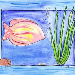 Oh How Cute Kids by Serena Bowman - One Fish, Ready To Hang Canvas Kid's Wall Decor, 16 X 20 - Each kid is unique in his/her own way, so why shouldn't their wall decor be as well! With our extensive selection of canvas wall art for kids, from princesses to spaceships, from cowboys to traveling girls, we'll help you find that perfect piece for your special one.  Or you can fill the entire room with our imaginative art; every canvas is part of a coordinated series, an easy way to provide a complete and unified look for any room.