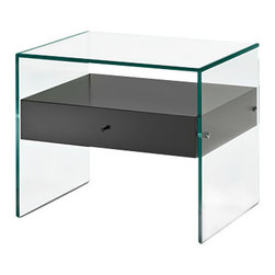 Tonelli Design - SECRET Side Table - Small side table or bedside table designed in 1989 for Tonelli in clear glass with wenge stain wood drawer.