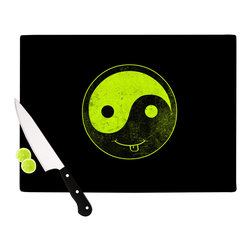 """Kess InHouse - Frederic Levy-Hadida """"Bad Ass Ying Yang"""" Cutting Board (11"""" x 7.5"""") - These sturdy tempered glass cutting boards will make everything you chop look like a Dutch painting. Perfect the art of cooking with your KESS InHouse unique art cutting board. Go for patterns or painted, either way this non-skid, dishwasher safe cutting board is perfect for preparing any artistic dinner or serving. Cut, chop, serve or frame, all of these unique cutting boards are gorgeous."""