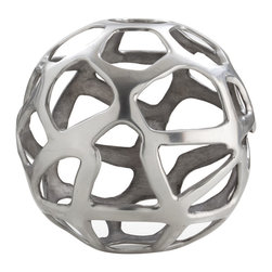 Kathy Kuo Home - Ennis Nickel Web Sphere Decorative Sculpture Object- Small - Crafted from a nickel finish brass, and shaped into a delightfully modern sphere, this decorative piece of metal art would be right at home with the Saarinen's and the Eames's��_ or in any modern space, for that matter!