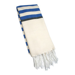 "Abanja - Barek Stripe Fouta Blue Towel - The Barek Fouta towel envelops with oversized comfort and classic style. Featuring sophisticated blue stripes against a neutral background, a soft cotton blend forms the fringed beach accessory. 39""W x 72""H; 85% cotton/15% acrylic; Blue, black and neutral stripes"