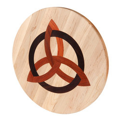 Kentucky Cutting Boards - Round Maple Cutting Board with Celtic Trinity - Chop your ingredients in style with this made in the USA round maple cutting board with a Celtic Trinity inlay. Made of maple, cherry and walnut wood, the fine craftsmanship will encourage your culinary inclinations and inspire you to dice and slice fresh produce with gusto.