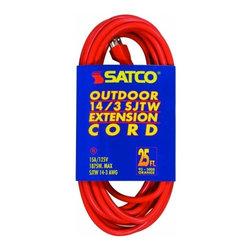 Satco - Satco Orange Outdoor Extension Cords - #14/3 GA. SJTW-3 - Outdoor orange extension cord in a variety of lengths