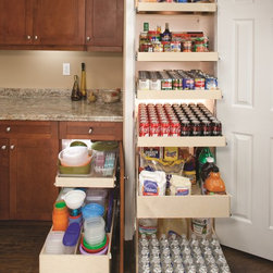 Pantry Pull Out Shelves - Organize your pantry with single-height and double-height pull out shelves for better visibility and easier access to all of your stored items.  Each shelf holds up to 100 pounds, so store your canned foods, baking supplies, rarely used appliances and more.