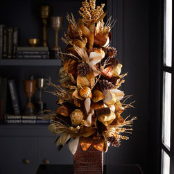 "Horchow - 36"" Chocolate, Copper, and Gold Tree - Exclusively ours. This festive tree in warm chocolate and metallic hues of copper and gold adds instant panache to a foyer or table top for the holidays. Handcrafted. Made of leaves, pine cones, berries, and twigs. 16""Dia. x 36""T. Imported."