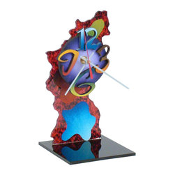 """David Scherer - """"Z"""" Table Clock - Batteries not included. Requires 1 AA battery. Hand crafted and painted. Clock mechanism: Ten years warranty. Made from mixed media, acrylic, medium density fiberboard and metal. Made in USA. 4 in. L x 4 in. W x 11 in. HEach piece is signed by the artist."""