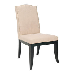 "Safavieh - Wayne Dining Side Chair Set of 2 - Elegant curves soften the Wayne dining side chair's angular form for sophisticated style. Atop splayed black legs, this taupe upholstered seat charms with classic nailhead trim. 26""W x 21.3""D x 38.8""H ; 60% linen/40% polyester; Black birchwood legs; Nickel nailhead trim; Set of two; Spot clean only"