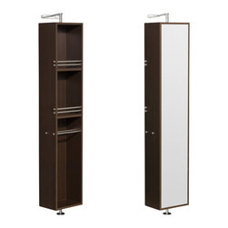 Wyndham Collection - Amare Espresso Linen Tower - The Amare rotating wall cabinet with mirror takes modern looks and bathroom storage to the next level with its clever design. Featuring a space-saving design which rotates 360 degrees this cabinet combines a full length mirror on one side with three large storage spaces and integrated towel racks on the other.