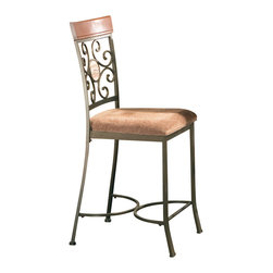 """Steve Silver Furniture - Steve Silver Thompson Metal Counter Chair with Beige Seat (Set of 2) - The bright and airy Thompson Dining collection gives any space a charming Mediterranean flair with its intricate wrought iron swirls. The Thompson counter chair features an intricate metal work back accented by a faux marble medallion, wood backrest, and beige upholstery on the seat. The chair measures 18""""W x 21""""D x 44""""H and is the perfect companion to the Thompson Counter height table."""