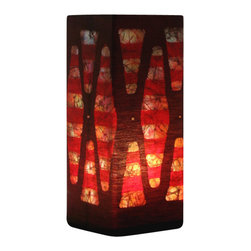 """funyhed BATIK - Batik Lamp """"Stalagmites"""" - This unique designer batik lamp is made of my one of a kind handmade batik fabric. Rich golden yellows, browns, and hints of orange create a warm and soothing atmosphere. The diffused light shines beautifully through the batik fabric emphasizing every line and wax crackle."""