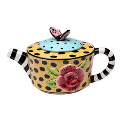 """ATD - 6 7/8"""" Striped and Polka Dot Teapot with Flower and Butterfly Design - This gorgeous 6 7/8"""" Striped and Polka Dot Teapot with Flower and Butterfly Design has the finest details and highest quality you will find anywhere! 6 7/8"""" Striped and Polka Dot Teapot with Flower and Butterfly Design is truly remarkable."""