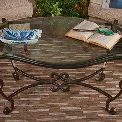 Coffee Table Bronze Iron Acanthus Leaf Beveled Glass - *Put a little Pizzazz! in your home with this COFFEE TABLE BRONZE IRON ACANTHUS LEAF WITH BEVELED GLASS!