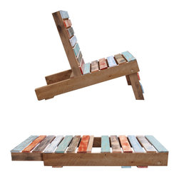 Magnetic Pallet Chair - This is the ultimate in eco-friendly AND minimalist design. This lawn chair is hand made and fold down into a pallet shape that's perfect for stacking. This is very clever.