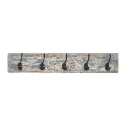 "Benzara - Metal and Wooden Discrete Wall Hooks with Multi Hook Racks - Metal and wooden discrete wall hooks with multi hook racks. Add elegance to your empty wall with this wooden and metal wall rack. It comes with a dimension of 24''W x 2 1/2""D x 4""H. Some assembly may be required."