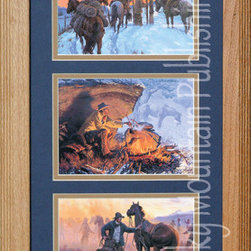 Rocky Mountain Publishing - Hunkered Down, Clark Kelley Price Cowboy Art Framed Set 10x20 - Cowboy  Art  at  its  best,  this  Hunkered  Down  three  print  set  by  artist  Clark  Kelley  Price  features  the  Great  American  cowboy  in  his  natural  environment--at  sunset,  at  the  campfire,  and  on  the  trail.  Double  matted  and  framed  in  a  rustic  wood  frame.                  Matting  and  glass  dimensions  10  W  x  20  H;  Exterior  frame  measures  approximately  16  Wx26  H              Glass  and  matting  included              Treated  with  an  acid-free  sealant  to  protect  from  fading              Made  in  USA              Hanging  system  pre-installed              Allow  2  weeks  for  shipping