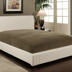 Abbyson Living - Abbyson Living Malibu White Bi-Cast Leather Full-Size Bed - This contemporary-styled bed will provide your bedroom with a fresh update. Crafted with faux leather over solid hardwood,this bed frame features a slat design that eliminates the need for a box spring.