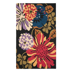 Safavieh - Country & Floral Jardin 5'x8' Rectangle Black - Multi Color Area Rug - The Jardin area rug Collection offers an affordable assortment of Country & Floral stylings. Jardin features a blend of natural Black - Multi Color color. Hand Tufted of Wool the Jardin Collection is an intriguing compliment to any decor.