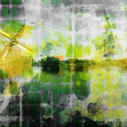 "Parvez Taj - Wall Prints - Windmill - 24""x36"" - Indulge in a little astral projection. This stunning print, by artist Parvez Taj, is your ticket to float down the waterways of Holland, all while sitting in your own living room. And, should you want a side trip, simply relax within the artist's dream state of brilliant spring colors and drifting patterns."