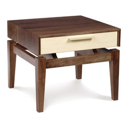 """Copeland Furniture - SoHo Nightstand - Accepting the premise that we shape our surroundings and then our surroundings shape us, the SoHo Bedroom seeks to instill the feelings of comfort and clarity. Borrowing elements from the best of traditional and contemporary design, SoHo falls into a category of its own; Modern-Classic. From the floating cabinet' motif of Mid-Century-Modern design to the updated Four Post and Panel beds designed for use with a mattress only, SoHo subtly evokes harmony, simplicity and versatility. The SoHo Bedroom is crafted in solid walnut and maple or cherry and is available in an assortment of species combinations Features: -Adjustable wooden glides so that the drawers will open and close smoothly throughout the life of the furniture piece..-Clear finish that is silky, smooth to the touch and still tough enough to stand up to the wear and tear of daily family activities. To preserve the beauty of the finish, simply clean the surface of the furniture with a soft damp cloth and then dry it thoroughly. Care over the years to come will not require oil, polishes, or cleaners..-Natural hardwoods have specific characteristics that make them warm and appealing to the eye. Swirls, knots and burls are some characteristics that contribute to the natural beauty of finely crafted hardwood furniture. Hardwoods oxiodize, or change color, from exposure to direct light. The color of the wood will deepen over time and take on a warm glow and soft patina..-Distressed: No.-Collection: SoHo.-Country of Manufacture: United States.Dimensions: -Dimensions: 17"""" H x 20"""" W x 20"""" D.-Overall Product Weight: 45 lbs."""