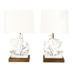 """1930s Art Deco Italian Porcelain Goddess Diana Lamps - Pair of 1930s Art Deco Italian porcelain lamps with the goddess Diana and a goat mounted on reticulated brass bases with hand painted gold decoration. In the style of Capodimonte, no maker's mark. Replacement shades: 8.25""""L x 5.1""""W x 6.1""""H. Wiring in working condition with plugs. No UL certification tag. Each uses 1 standard bulb up to 60W, not included."""