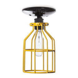 Industrial Light Electric - Industrial Ceiling Mount Light - Yellow Wire Cage Lighting, Black, 60 Watt Tube - This Custom Made to Order Ceiling Mount Cage Light comes with