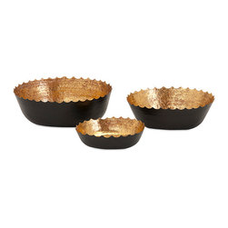 iMax - Barker Bowls, Set of 3 - Strike black gold with a trio of matte-finished iron bowls, embellished with scalloped edging and a sophisticated metallic interior ideal for traditional and transitional interiors.