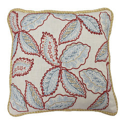 Waverly - Treasure Trove Federal 20 x 20-Inch Embroidered Decorative Pillow - - Refresh your bedroom with classically elegant bedding accessories by Waverly�. Inspired by the town and country lifestyle, this pillow features intricately embroidered leaf patterns in shades of blue and red. Pillow is finished with braided cording for added style. Reverse features large-scale Jacobean florals  - Reversible Pillow Measures 20 in x 20 in  - Hidden Zipper Closure, Insert Included  - Spot Clean Only  - 100% Prewashed Cotton Waverly - 13820009X022FED