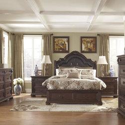 Caprivi Upholstered Panel Headboard Bedroom Set in Brown -