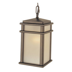 Murray Feiss - Murray Feiss Mission Lodge Outdoor Lighting Fixture - Shown in picture: Mission Lodge Hanging Lantern in Corinthian Bronze finish with Amber ribbed glass
