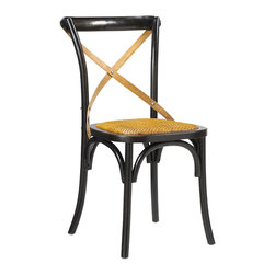 Kathy Kuo Home - Kasson French Country Black Oak Wood Dining Side Chair - Pair - Evoking the seat at your favorite table in the boisterous brasserie, this French Country oak side chair is the perfect place to enjoy a meal or an evening of engaging conversation. The polished black finish adds a modern touch to the classic architecture, complemented by a hand-woven rattan seat and cross-hatch across the back for stylish support.
