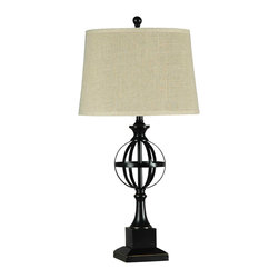 None - Illuminada 3-way Metal Table Lamp with Beige Fabric Drum Shade - This table lamp has an extremely distinct and memorable design that will give your friends and guests something to talk about when they come over. Add a sense of modern industrial style to any room in your home with this lamp.