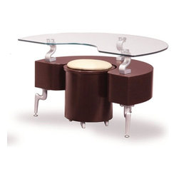 Global Furniture - Glass End Table in Mahogany with Cappuccino Stools - T288ME - Finished in Mahogany