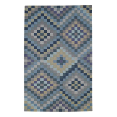 Sunshine & Shadow rug in Slates - Fine flat-woven antique kelim construction composed of 50% India Chokla wool and 50% blended wool for superior durability. Inspired by Colonial American designs.