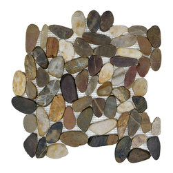 Somertile - SomerTile 11.75x11.75-in Riverbed Flat Multi Natural Stone Mosaic Tile (Pack of - Add the look and feel of natural stone to your floor or walls with these tiles from SomerTile. These tiles feature earth tones and can be used indoors or outdoors.
