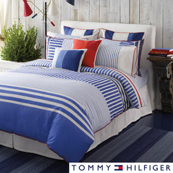 Tommy Hilfiger - Tommy Hilfiger Mariners Cove Sheet Set - Adorn your bed with these cotton Tommy Hilfiger sheets and sleep in comfort. The fun striped pattern has a nautical feel that will give your room a designer look. The fitted sheet has deep pockets, ensuring a snug fit and sweet dreams.
