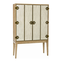 "Arteriors - Arteriors Home - Chelsey Ntrl Limed Oak Veneer Bar Bifold Linen - This versatile wood veneer cabinet finished in natural limed oak, Features: linen textured bi-fold doors that are accented with decorative nail head trim and ornate antiqued brass hinges. Features: Chelsey Collection Cabinet Oak VeneerMirrored BackRecessed Light Some Assembly Required. Dimensions: W 39"" x D 14"" x H 60"""