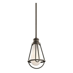 Kichler Lighting - Kichler Lighting Saddler Transitional Mini Pendant Light X-ZO52224 - Reflective of a lantern, this Kichler Lighting Saddler Transitional Mini Pendant Light is a classic fixture. It contains a Cased Opal glass shade and is finished in Old Bronze. Add an industrial element to your design by hanging this pendant wherever task lighting is needed.