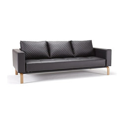 """Innovation USA - Innovation Cassius Q Deluxe Black Leather Sofa Bed with Lacquered Oak Legs - Treat your family to this wonderful """"Innovation USA"""" Cassius Q Deluxe Black Leather Sofa with Lacquered Oak. It is part of Cassius collection. Furniture from this collection in a modern style and is made of high quality materials. The sofa transforms into a full size bed by pulling the seat forward, and folding down the backrest.    Features:"""