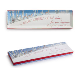 Rosanna - Rosanna Vintage Holiday Greeting Tray - Season's Greetings! From the hip and retro Vintage collection by Rosanna, this  Holiday Greeting Tray offers a fresh take on holiday entertaining. Made of porcelain and 24KT gold.