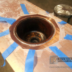 Copper Counter Top - Weston, MA - Sink being soldered on copper top