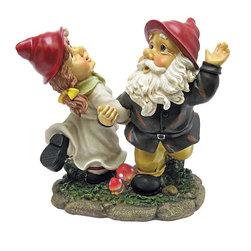 EttansPalace - Dancing Couple Italian Gnome Statues Sculpture Figurine - When you could use a little gnome magic in a garden flowerbed or vegetable plot, our Garden Gnome sculpture is at the ready! Sporting pointy red elf hats and full gnome attire, these exclusive garden Gnomes are is doing a traditional Gnome dance, extending a warm welcome to all visitors to your home or garden. Imaginatively sculpted, our quality designer resin garden gnome figurine is lovingly made of quality designer resin and then hand-painted one piece at a time by skilled artisans.