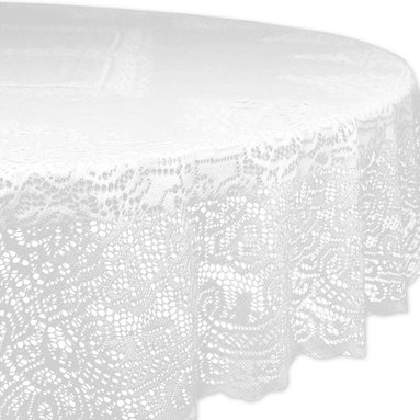 Design Imports - Round Victorian Lace Tablecloth - Add a sweet regal touch to dining room décor with this eye-catching tablecloth. It's a great way to keep tables free from dings and scratches.   63'' diameter 100% polyester Machine wash; tumble dry Imported
